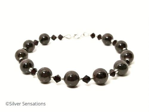 Dark Red Garnet & Sterling Silver Designer Bracelet With Swarovski Crystals